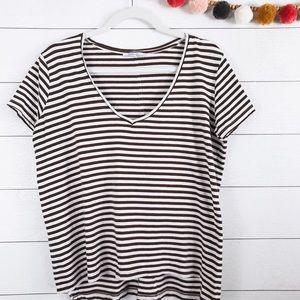 Zara   Brown & White Striped V-Neck Basic Tee